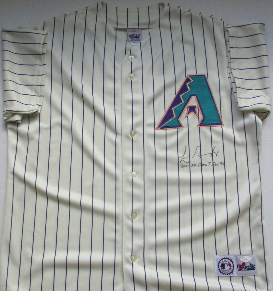 96ec102dd81 Luis Gonzalez Autographed 2001 White Majestic Arizona Diamondbacks  Throwback Blank Back Jersey with
